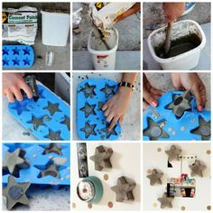 Aileen from At Home in Love made us these nifty little concrete magnets. Here's how.Materials: a silicone ice cube tray, magnets, concrete mix, a bucket or container to mix the concrete in, a stick for stirring, and a cup to scoop the concrete with.1. Mix the concrete according to the directions on the package. Start by putting a couple inches of water in the bottom of my bucket, then pour in the concrete mix until it reached the consistency of pancake batter (or a little thicker).2. Scoop…