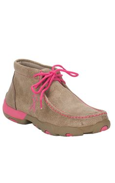 Twisted X Ladies Bomber Dusty Tan with Pink Driving Moccasin Casual Shoe | Cavender's