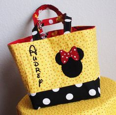 Personalized Minnie Mouse Tote Bag/ Disney small diaper bag- Birthday Gift (matching minnie dress available) (more fabrics available) on Etsy, $25.00