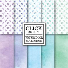 Watercolor Digital Paper: WATERCOLOR DOTS WINTER by ClickDesigns