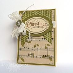 Shabby Christmas Greeting Card...with music note paper, button & bow.