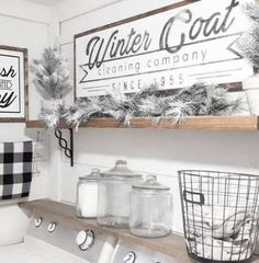 Winter Coat Cleaning Company 1955 Laundry Room Vintage Home Style Decor Farmhouse Decor Whitewash Ha Mudroom Laundry Room, Farmhouse Laundry Room, Laundry Room Organization, Laundry Room Design, Laundry Shelves, Laundry Decor, Laundry Tips, Laundry Storage, Organization Ideas
