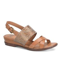 This Luggage & Gold Sassandra Leather Sandal is perfect! #zulilyfinds