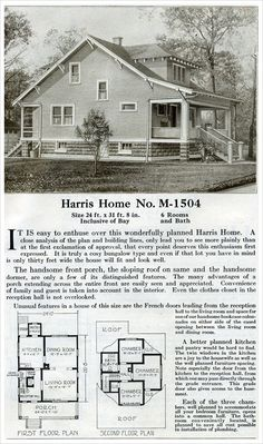 1920s Vintage Home Plans   Dutch Colonial Revival   The Washington     Farm style bungalow   1920 Harris Home Plans