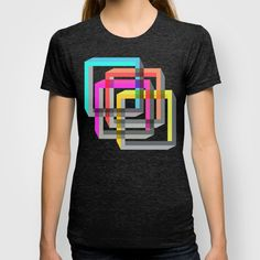 Colorful impossible 3D shapes overlapping. T-shirt. #Colorful #Geometry #ImpossibleShapes