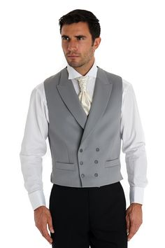 Moss Bros Covent Garden Tailored Fit Double Breasted Waistcoat Dove Grey