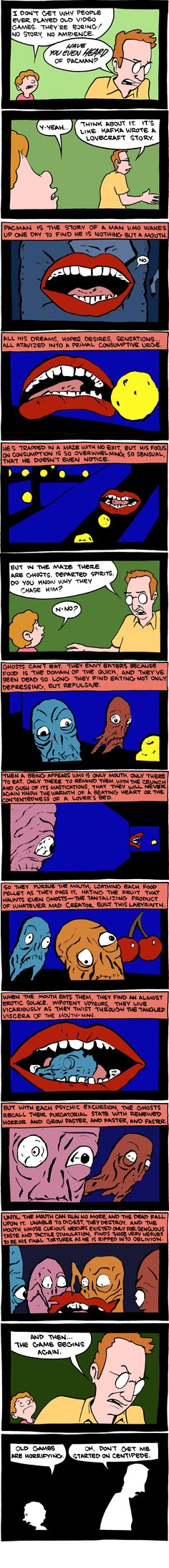 Old Video Games are Horrifying Comic: Pac-Man as a Kafkaesque Nightmare Pac Man, Hp Lovecraft, Science Fiction, Smbc Comics, Old Video, Old Games, Funny Comics, Comic Strips, The Funny