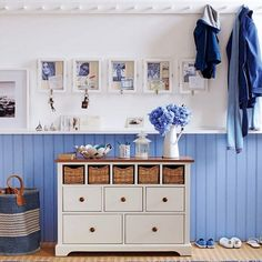 """Pretty sure I want this dresser and painted wainscoat walls in my mud room (with those big """"lockers"""" for each family member)."""