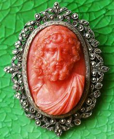"""Зевс"". Коралл, серебро, марказиты. Италия 1790-1810"