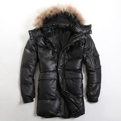 2017 Men Long Black Genuine Leather Goose Down Jacket Black Real Thick Cowhide Slim Fit Plus Size XXL Warm Coat FREE SHIPPING