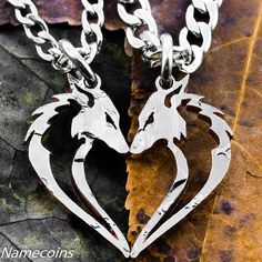 Fox necklaces in a heart shape, Couples set, Tribal Jewelry, Hand cut coin, Half Dollar on Etsy, $69.99