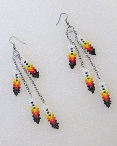 "Chain and Beaded Feathers Pierced Dangle Earrings-4.5"" Long"