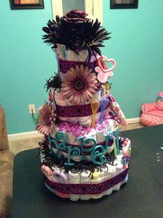 Black & purple themed diaper cake