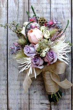 Beach Boho Chic Romantic Pink Purple White Bouquet Fall Spring Summer Winter Wedding Flowers Photos & Pictures - WeddingWire.com