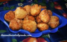 Hushpuppies are round cornmeal dumplings that usually accompany a big dish of fried fish. These cornmeal hushpuppies are delicious