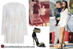 Buy Selena Gomez's White Lace Romper and Studded Sandals, here!