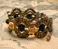 Olive, Black & Khaki Micro Macrame Bracelet with Goldtone Smiling Stars and  Moonface Metallic Beads. $32.00, via Etsy.