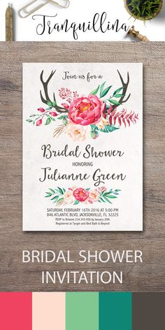 Boho Bridal Shower Invitation Printable, Floral Bridal Shower Invitation, Rustic Woodland Bridal Party Invitation, DIY bridal shower ideas, Peony & Antlers, For more party printables, check the following link: tranquillina.etsy.com