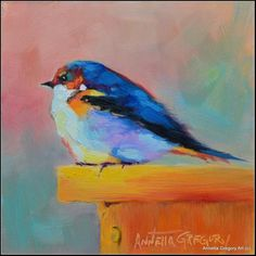 """Daily Paintworks - """"Barnswallow"""" - Original Fine Art for Sale - © Annetta Gregory"""