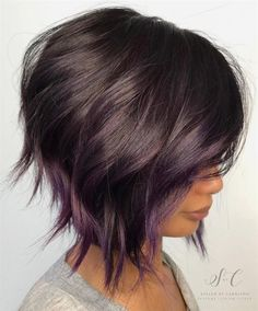 Brown Bob With Subtle Purple Balayage. 20 Purple Balayage Ideas from Subtle to Vibrant Short Hair With Layers, Short Hair Cuts, Layered Bob Short, Layered Bobs, Hair Cuts Edgy, Fun Hair Cuts, Brown Hair Short Bob, Short Inverted Bob, Unique Hair Cuts