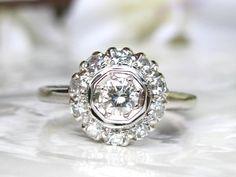 Vintage Engagement Ring 0.50ctw Diamond by LadyRoseVintageJewel