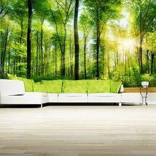 Papel de parede, Bos Zomer lichtstralen Kofferbak boom Natuur wallpapers, restaurant woonkamer tv slaapkamer muur custom 3d muurschildering(China)