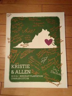 Personalized State Art Print | Guest Book Alternative | Customer Photo | Wedding Colors - Green & Raspberry | peachwik.com