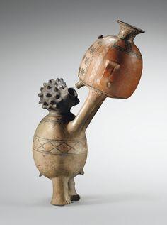 Récipient anthropomorphe, homme buvant d'un aryballe<br>Culture Inca<br>Pérou<br>1400-1500 ap. J.-C. | Lot | Sotheby's