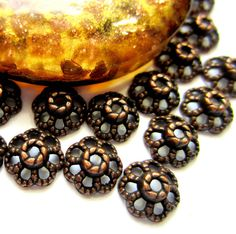 36 Bead caps red copper 9mm x 4mm lace by GatheringSplendor