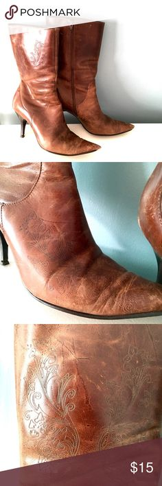 "Brown tooled leather boots Pointy-toed boots are surprisingly comfortable! Gorgeous tooling all over the sides and toes. 3"" heel. The real signs of wear are at the very tips, as seen in the photos. They go to mid-calf. By Matisse. Matisse Shoes Heeled Boots"
