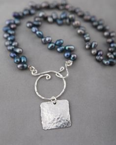 Jennifer Engel Designs - Peacock Freshwater Pearls with Sterling Hammered Square Pendant with Handcrafted Sterling Spiral Clasp Necklace, Handcrafted Jewelry