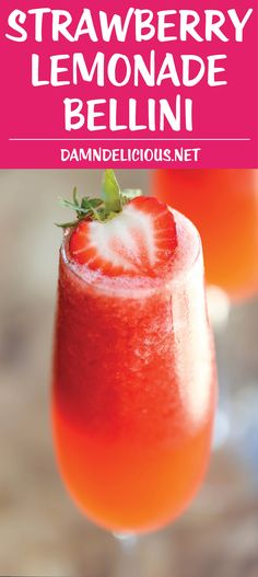 Strawberry Lemonade Bellini - This is a fun twist to your traditional peach bell. CLICK Image for full details Strawberry Lemonade Bellini - This is a fun twist to your traditional peach bellini, made into a boozy-type . Smoothies, Smoothie Drinks, Smoothie Shop, Prosecco Cocktails, Cocktail Drinks, Mimosa Champagne, Summer Cocktails, Slushies, Cocktail
