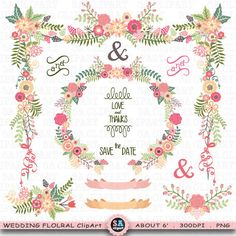 Wedding Clipart WEDDING FLORAL clip art pack Vintage by SAClipArt