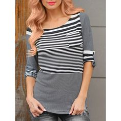 8% off coupon, TDCPYQ2 Twinkledeals Stylish Scoop Neck 3/4 Sleeve Various Striped Pullover T-Shirt For Women