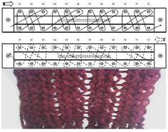 Loom Knitting stitches ♥LLK♥ work and diagram # 22