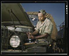 Mechanic doing motor maintenance, Ft. Knox, Kentucky, 1939