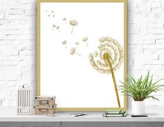 Dandelion Art Print Gold Poster Home Decor by ATArtDigital on Etsy Gold Decorations, Dandelion Art, Frame It, Printable Wall Art, Wall Decor, Art Prints, Artwork, Poster, Handmade