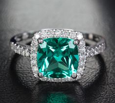 Vs 8mm Emerald 14k White Gold Pave .31ct Diamonds Halo Wedding Engagement Ring on Etsy, $499.00