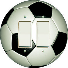 Double Decora Rocker Light switch cover Soccer. Round. made in USA