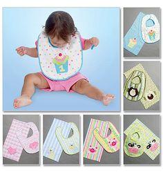 Baby Bib First Birthday, 1st Birthday Bid, Baby Burp Cloth, Easy Pattern McCalls M6478. $3.50, via Etsy.