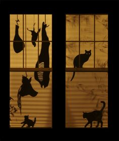 window silhouettes. I love the lines, even though most of these are too scary for the kids this year.