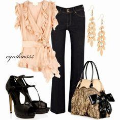 Black jeans, blouse, high heel black sandals and handbag....oh my.  That handbag, those shoes, mmm the blouse!!! I really need this I think