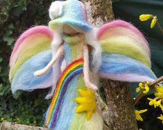 Fairy bow-in - lucht in gekaarde wol vilten naald Waldorf inspiratie