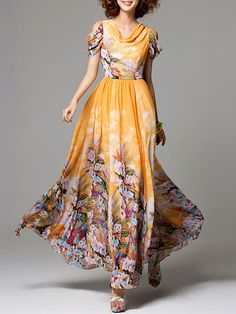 StyleWe Yellow Floral-print Chiffon Casual Floral Maxi Dress
