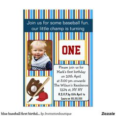 blue baseball first birthday photo invitation