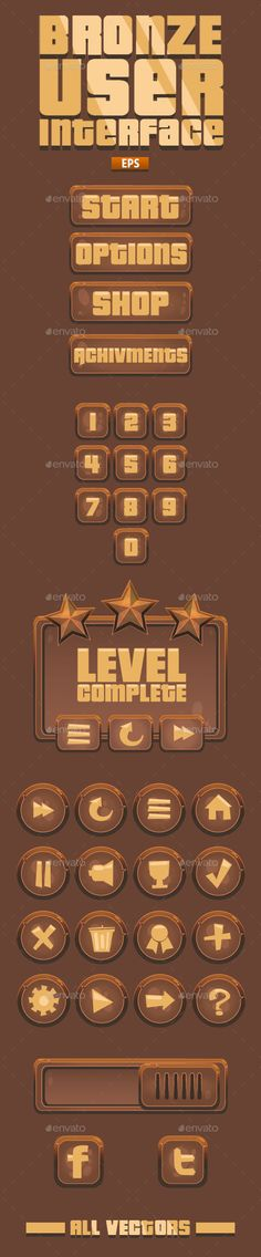 Bronze VideoGame UI -41 Items- - User Interfaces Game Assets