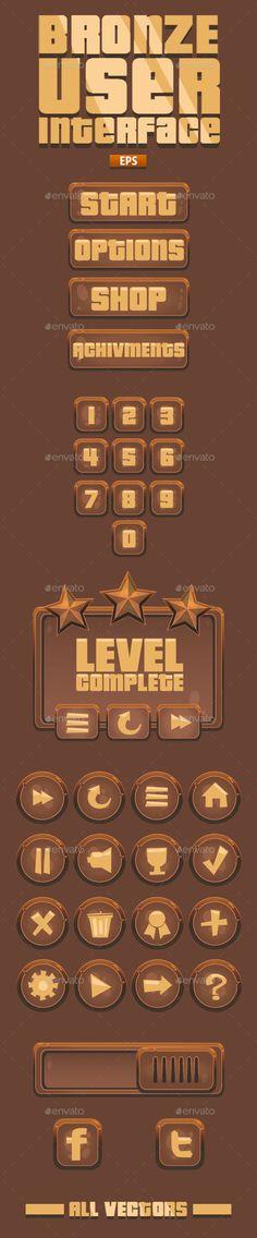 Bronze UI for videogames Exclusive Envato. Link: http://graphicriver.net/item/bronze-videogame-ui-41-items/11403405