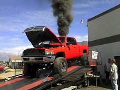 "Some people take ""Blowin smoke"" a little to serious Jacked Up Trucks, Dodge Trucks, Cool Trucks, Cool Cars, Lifted Dodge, Dodge Cummins, Dodge Ram Diesel, Diesel Trucks, Rolling Coal"