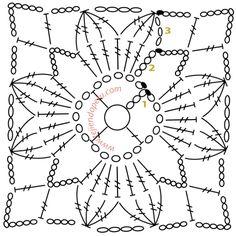 Transcendent Crochet a Solid Granny Square Ideas. Inconceivable Crochet a Solid Granny Square Ideas. Crochet Motif Patterns, Crochet Blocks, Granny Square Crochet Pattern, Crochet Diagram, Crochet Chart, Crochet Squares, Love Crochet, Crochet Granny, Beautiful Crochet