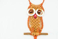 Super Cute Small Vintage Handmade Macrame Owl. $13.00, via Etsy.
